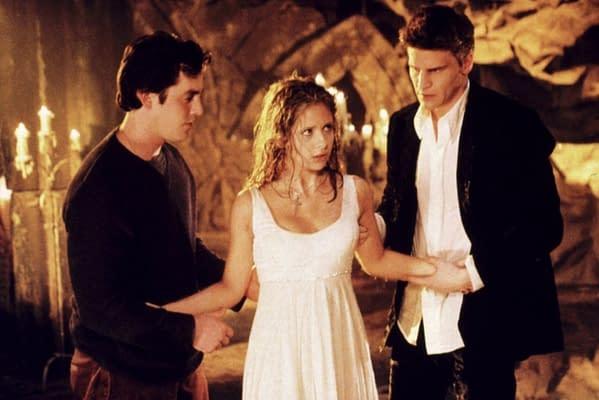 Buffy, Angel, and Xander in Buffy the Vampire Slayer, courtesy of WarnerMedia.