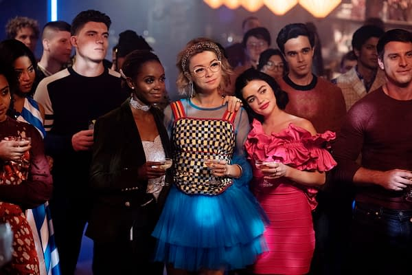 Camille Hyde as Alexandra Cabot, Zane Holtz as K.O. Kelly, Ashleigh Murray as Josie McCoy, Julia Chan as Pepper Smith, Lucy Hale as Katy Keene, and Ryan Faucett as Bernardo, image courtesy of The CW.