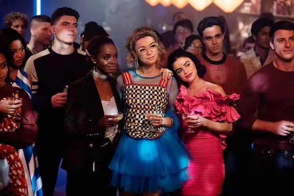 Camille Hyde as Alexandra Cabot, Zane Holtz as K.O. Kelly, Ashleigh Murray as Josie McCoy, Julia Chan as Pepper Smith, Lucy Hale as Katy Keene, and Ryan Faucett as Bernardo, image courtesy of The CW.