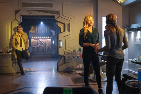 Matt Ryan as Constantine, Jes Macallan as Ava Sharpe and Caity Lotz as Sara Lance/White Canary on DC's Legends of Tomorrow, courtesy of The CW.