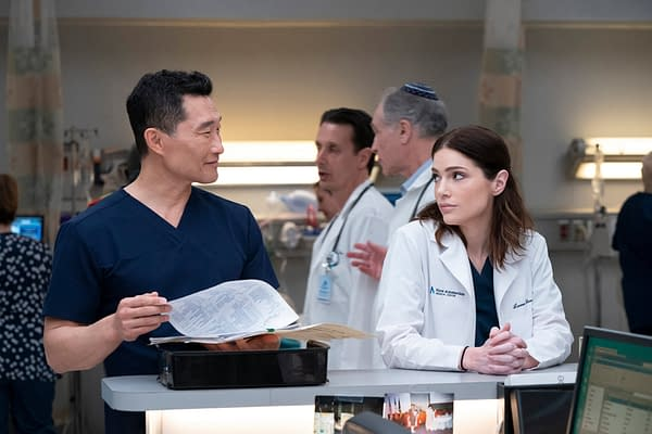 Daniel Dae Kim stars as Dr. Cassian Shin and Janet Montgomery stars as Dr. Lauren Bloom in New Amsterdam, courtesy of NBC.