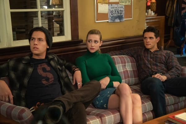 Cole Sprouse as Jughead Jones, Lili Reinhart as Betty Cooper, and Casey Cott as Kevin Keller in Riverdale, courtesy of The CW.