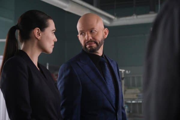 Katie McGrath as Lena Luthor and Jon Cryer as Lex Luthor in Supergirl, courtesy of The CW.