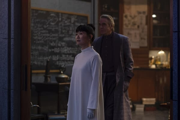 Lady Trieu and Adrian Vedit meet on Watchmen, courtesy of HBO.