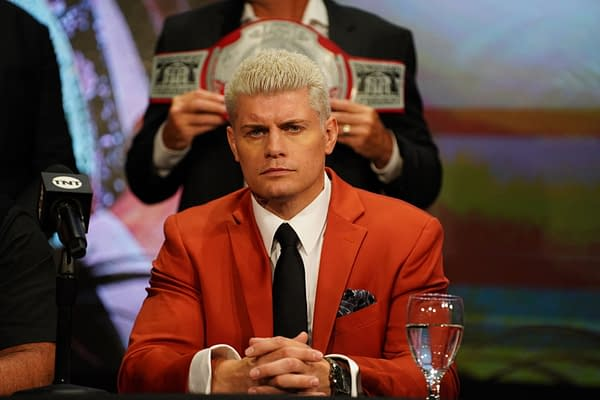 Cody Rhodes appears at a press conference on AEW Dynamite (Credit: AEW)
