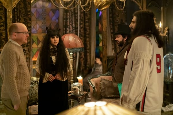 "WHAT WE DO IN THE SHADOWS -- ""Nouveau Théâtre des Vampires"" -- Season 2, Episode 10 (Airs June 10) Pictured: Mark Proksch as Colin Robinson, Natasia Demetriou as Nadja, Matt Berry as Laszlo, Kayvan Novak as Nandor. CR: Russ Martin/FX"