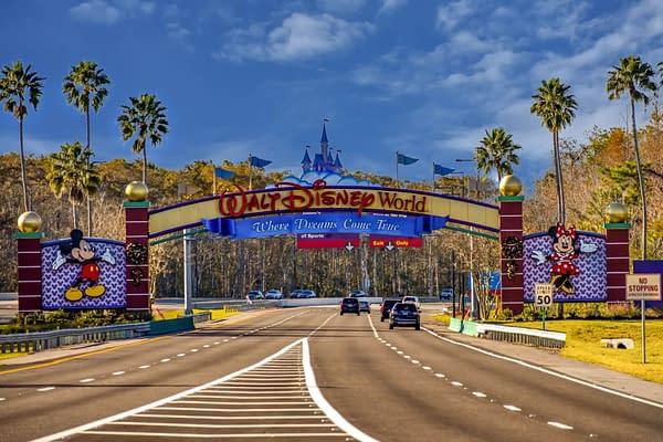 Orlando, Florida. January 11, 2019 Entrance Arch of Walt Disney Theme Parks at Lake Buena Vista area. Editorial credit: VIAVAL / Shutterstock.com