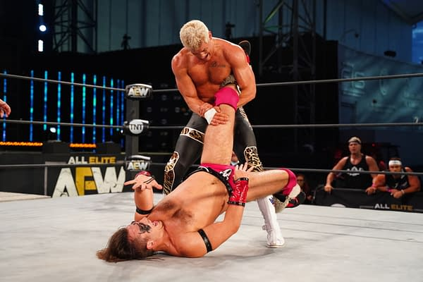 Nightmare Factory co-founder Cody Rhodes works the leg of Warhorse on an episode of AEW Dynamite [Credit: AEW]