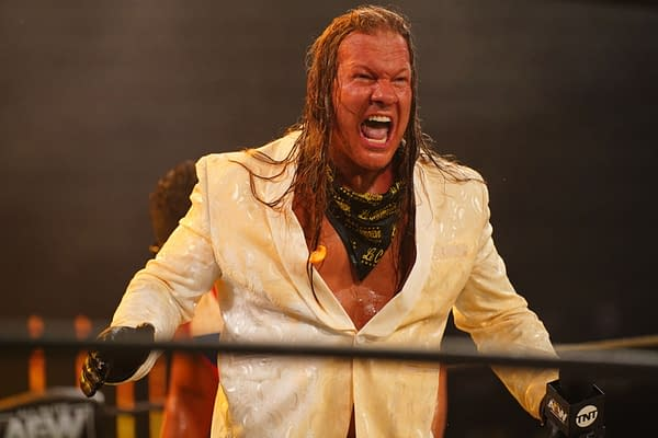 An enraged Chris Jericho is doused in orange juice on AEW Dynamite after declaring himself The Demo God.