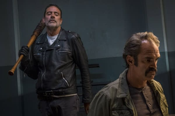 The Walking Dead season 8 scene: Jeffrey Dean Morgan and Steven Ogg (Image: AMC)