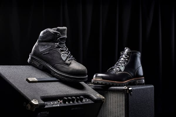 Side views of both styles of Metallica-themed work boot, designed by Wolverine.