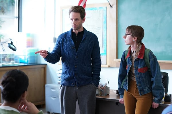 """A.P BIO -- """"Disgraced"""" Episode 302 -- Pictured: (l-r) Glenn Howerton as Jack Griffin, Allisyn Snyder as Heather -- (Photo by: Chris Haston/Peacock)"""
