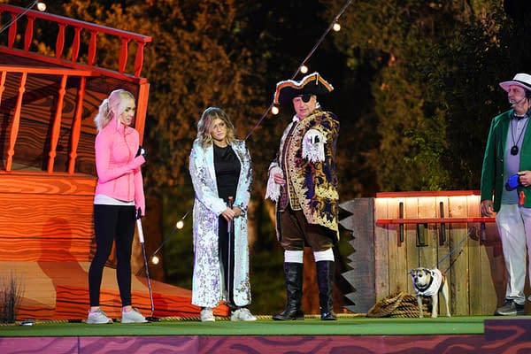 "HOLEY MOLEY - ""Double Dutch Riggle"" - This week on the ""Holey Moley"" course, an Olympic golfer takes a professional musician to Uranus and a ""small but mighty"" law student fights for her footing against a pageant queen on Slip N' Putt. Across the course, a former NFL player and a used car salesman struggle to focus while World Champion sumo wrestlers battle it out on The Distractor. ""The Maleficent of mini-golf"" jumps the shark against the owner of a golf supply company on Putt the Plank. Later, after sticking the landing on Polcano and going for it on Gopher It, two finalists meet on Double Dutch Courage, and a shocking hole-in-one earns one contestant the final spot in the grand finale and the chance to putt for $250K. ""Holey Moley,"" ""Double Dutch Riggle,"" airs THURSDAY, SEPT. 3 (8:00-9:00 p.m. EDT), on ABC. (ABC/Christopher Willard) CASEY LATTO, ERICA DECHOWITZ, JON LOVITZ"