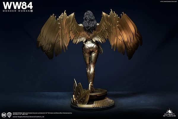 Wonder Woman Wears the Golden Eagle Armor in Queen Studios Statue