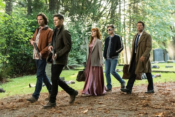 "Supernatural -- ""The Rupture"" -- Image Number: SN1504b_0355b.jpg -- Pictured (L-R): Jared Padalecki as Sam, Jensen Ackles as Dean, Ruth Connell as Rowena, Alexander Calvert as Jack and Misha Collins as Castiel -- Photo: Dean Buscher/The CW -- © 2019 The CW Network, LLC. All Rights Reserved."