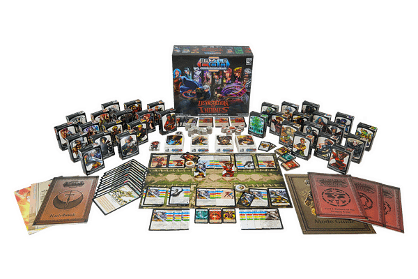 A high-angled array of all of the components in BattleCON Devastation of Indines, a remastered version of BattleCON by Level 99 Games.