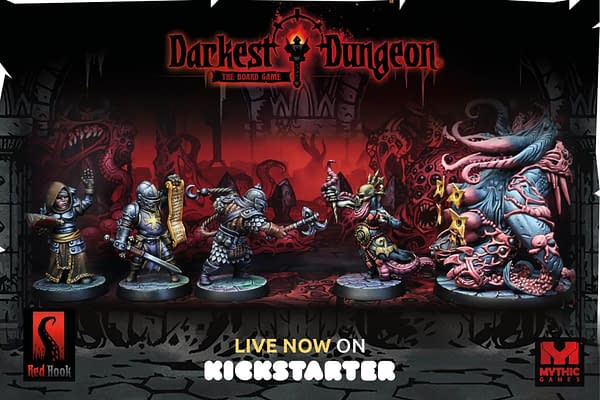 A header advert for the Darkest Dungeon tabletop board game by Mythic Games, on Kickstarter now.