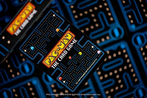 A hype shot of Pac-Man The Card Game by Steamforged Games.