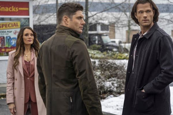 "Supernatural -- ""Gimme Shelter"" -- Image Number: SN1515B_0084r.jpg -- Pictured (L-R): Emily Swallow as Amara, Jensen Ackles as Dean and Jared Padalecki as Sam -- Photo: Colin Bentley/The CW -- © 2020 The CW Network, LLC. All Rights Reserved."