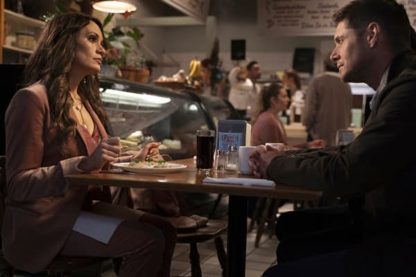 "Supernatural -- ""Gimme Shelter"" -- Image Number: SN1515B_0420r.jpg -- Pictured (L-R): Emily Swallow as Amara and Jensen Ackles as Dean -- Photo: Colin Bentley/The CW -- © 2020 The CW Network, LLC. All Rights Reserved."