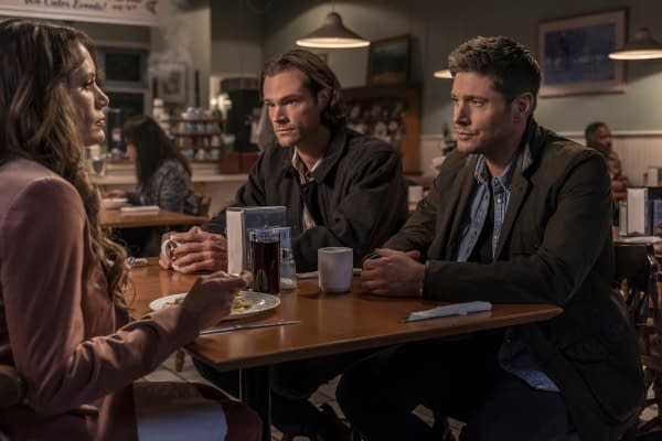 """Supernatural -- """"Gimme Shelter"""" -- Image Number: SN1515B_0518r.jpg -- Pictured (L-R): Emily Swallow as Amara, Jared Padalecki as Sam and Jensen Ackles as Dean -- Photo: Colin Bentley/The CW -- © 2020 The CW Network, LLC. All Rights Reserved."""