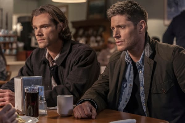 """Supernatural -- """"Gimme Shelter"""" -- Image Number: SN1515B_0544r.jpg -- Pictured (L-R): Jared Padalecki as Sam and Jensen Ackles as Dean -- Photo: Colin Bentley/The CW -- © 2020 The CW Network, LLC. All Rights Reserved."""