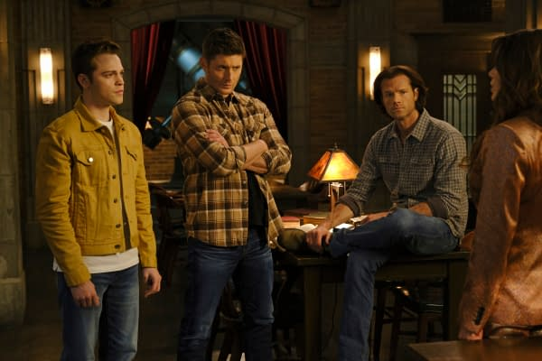 "Supernatural -- ""Unity"" -- Image Number: SN1517A_0246r.jpg -- Pictured (L-R): Alexander Calvert as Jack, Jensen Ackles as Dean, Jared Padalecki as Sam and Emily Swallow as Amara -- Photo: Jeff Weddell/The CW -- © 2020 The CW Network, LLC. All Rights Reserved."