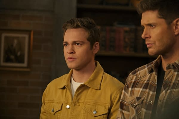 "Supernatural -- ""Unity"" -- Image Number: SN1517A_0250r.jpg -- Pictured (L-R): Alexander Calvert as Jack and Jensen Ackles as Dean -- Photo: Jeff Weddell/The CW -- © 2020 The CW Network, LLC. All Rights Reserved."