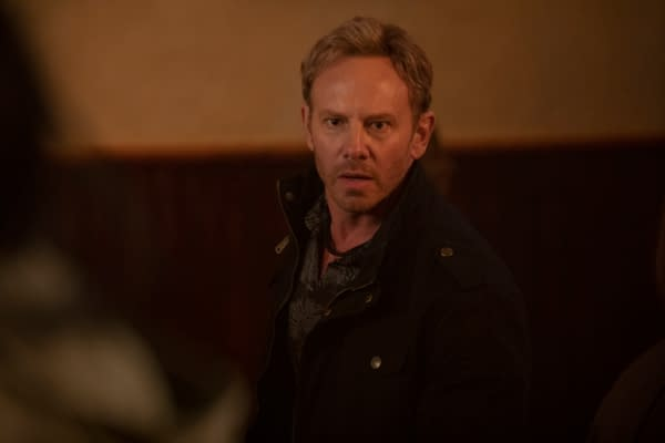 "Swamp Thing -- ""Darkness on the Edge of Town"" -- Image Number: SWP104b_0128r -- Pictured: Ian Ziering as Daniel Cassidy -- Photo: Fred Norris / 2020 Warner Bros. Entertainment Inc. -- © 2020 Warner Bros. Entertainment Inc. All Rights Reserved."
