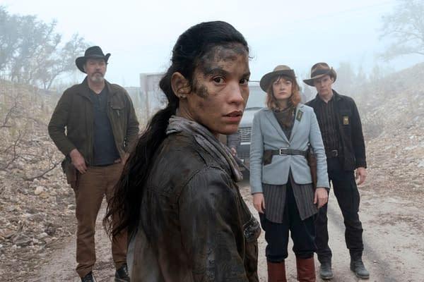 Danay Garcia as Luciana, Colby Minifie as Virginia, Justin Smith as Marcus, Craig Nigh as Hill - Fear the Walking Dead _ Season 6, Episode 6 - Photo Credit: Ryan Green/AMC