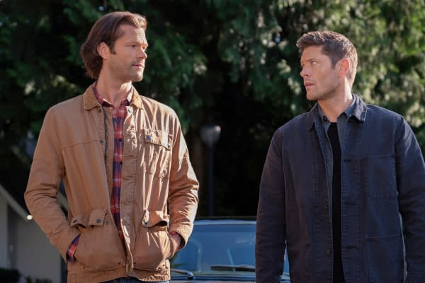 "Supernatural -- ""Carry On"" -- Image Number: SN1520C_0015r.jpg -- Pictured (L-R): Jared Padalecki as Sam and Jensen Ackles as Dean -- Photo: Robert Falconer/The CW -- © 2020 The CW Network, LLC. All Rights Reserved."