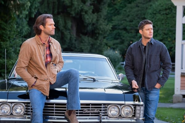 "Supernatural -- ""Carry On"" -- Image Number: SN1520C_0272r.jpg -- Pictured (L-R): Jared Padalecki as Sam and Jensen Ackles as Dean -- Photo: Robert Falconer/The CW -- © 2020 The CW Network, LLC. All Rights Reserved."