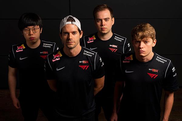 T1's Valorant team (l-r Ha 'Spyder' Jung-woo, Sam 'DaZeD' Marine, Keven 'AZK' Lariviere and Braxton 'brax' Pierce). Courtesy of Marv Watson/Red Bull.