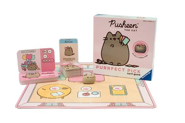 Uma olhada no jogo de cartas Pusheen Purrfect Pick, cortesia de Ravensburger.