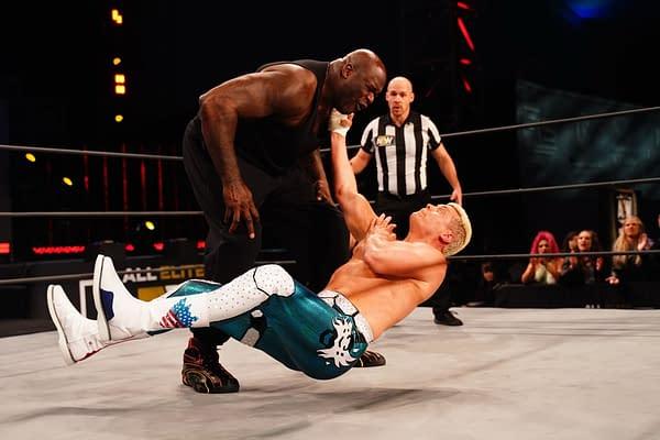 Cody Rhodes wrestles Shaq on AEW Dynamite - Credit: All Elite Wrestling