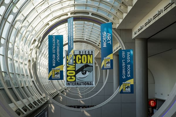 SAN DIEGO, CALIFORNIA - JULY 24 2016: Banners hang over San Diego Comic-Con, promoting the pop culture convention's various events.