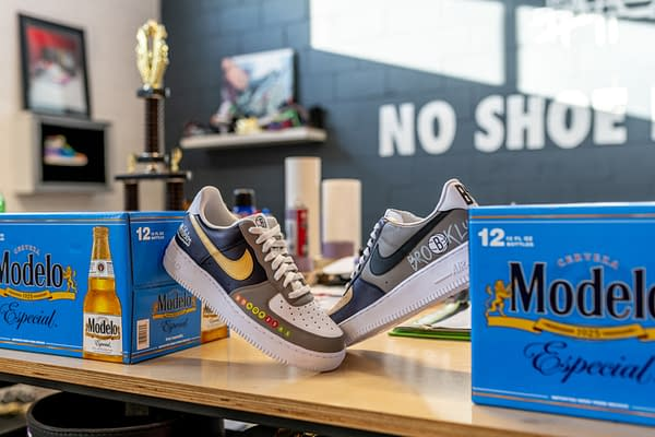 A look at the special Brooklyn Nets version of the custom low-top Nike sneakers, courtesy of Modelo.
