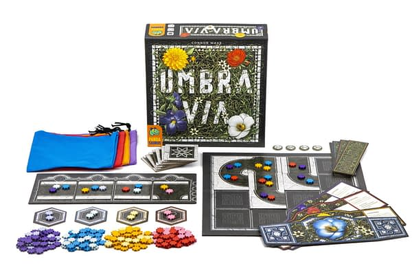 An array of the components in Umbra Via, an upcoming board game release from Pandasaurus Games.