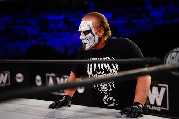 Sting watches Darby Allin's back on AEW Dynamite... but what else is he watching, comrades?! Haw haw haw haw! [Photo: All Elite Wrestling]
