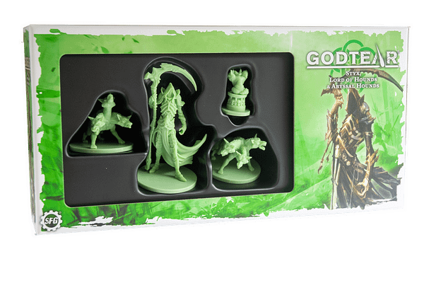 The front of the box for Styx, a Shaper champion from Steamforged Games' skirmish-based wargame, Godtear.