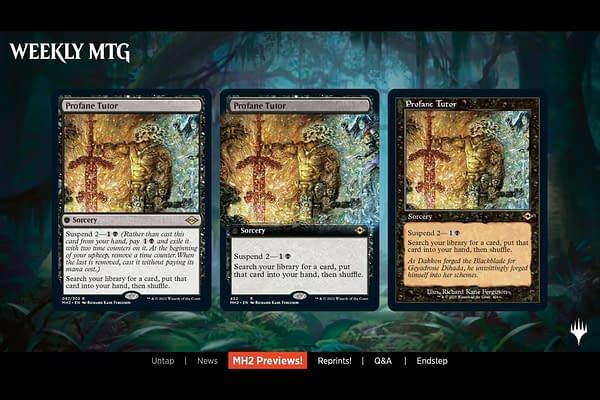 Profane Tutor, a new card from Magic: The Gathering's next set, Modern Horizons 2.