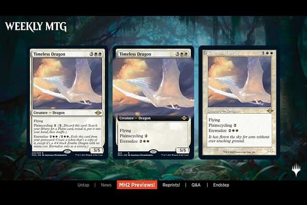 Timeless Dragon, a new card from Magic: The Gathering's Modern Horizons 2 expansion. This card harks back to Eternal Dragon, a strong card from Scourge.