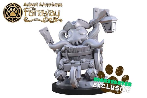 The adorable, Kickstarter-exclusive baby Kraken miniature for Animal Adventures: The Faraway Sea.