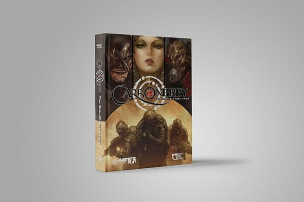 The front cover of the core book for the Carbon Grey tabletop RPG adaptation by the tabletop game company Magnetic Press Play.
