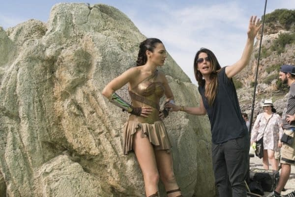 Patty Jenkins and Gal Gadot on the set of Wonder Woman