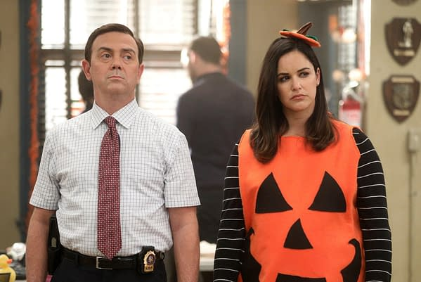 Boyle and Amy consider their heist competition options on Brooklyn Nine-Nine, courtesy of NBCUniversal.