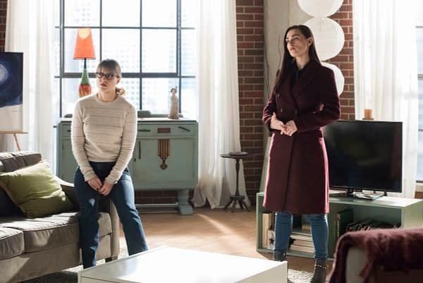 Melissa Benoist as Kara/Supergirl and Katie McGrath as Lena Luthor on Supergirl, courtesy of The CW.