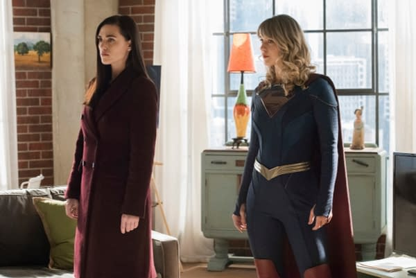 """Supergirl -- """"Immortal Kombat"""" -- Image Number: SPG519A_0262r.jpg -- Pictured (L-R): Katie McGrath as Lena Luthor and Melissa Benoist as Kara/Supergirl -- Photo: Dean Buscher/The CW -- © 2020 The CW Network, LLC. All rights reserved."""