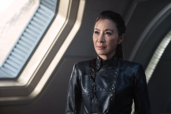 Pictured: Michelle Yeoh as Georgiou of the CBS All Access series STAR TREK: DISCOVERY. Photo Cr: Michael Gibson/CBS ©2020 CBS Interactive, Inc. All Rights Reserved.