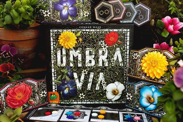 The box art for Pandasaurus Games' new board game, Umbra Via.